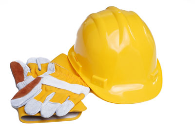 hard hat with glove